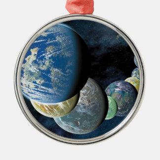 奇妙で新しい世界の外国の惑星のモンタージュ メタルオーナメント