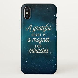 奇跡|のiPhone Xの場合のための感謝したハートの磁石 iPhone X ケース