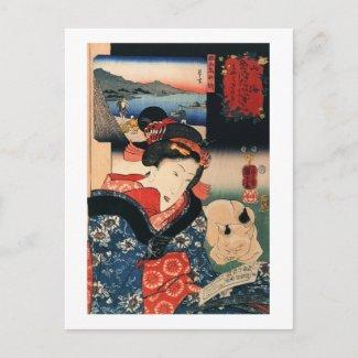 女と眠る猫、国芳の女性および睡眠猫、Kuniyoshi ポストカード