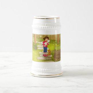 女の子およびおもしろいな小犬のマグ ビールジョッキ