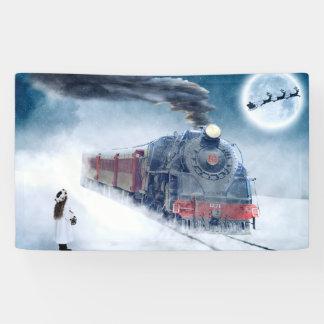 女の子およびサンタが付いている真夜中のクリスマスの列車 横断幕