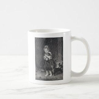女の子および子ネコ コーヒーマグカップ