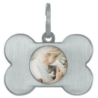 女の子および子ネコ ペットネームタグ