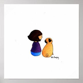 女の子および彼女のパグ(ブルネットの版) ポスター