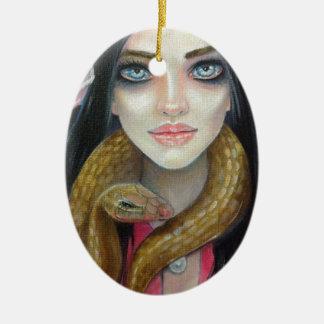 女の子および彼女のヘビの元の芸術の絵画 セラミックオーナメント