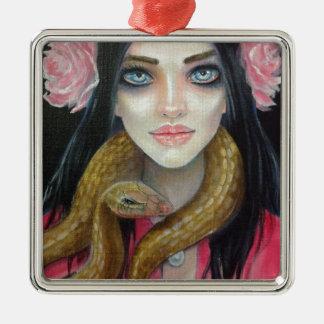 女の子および彼女のヘビの元の芸術の絵画 メタルオーナメント