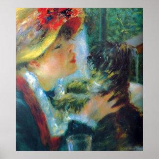 女の子および犬のルノアールの印象主義のファインアート ポスター