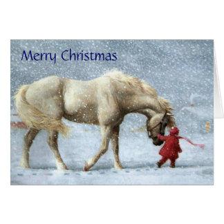 女の子および馬のクリスマスカード カード