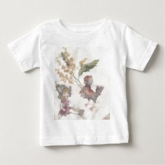 女の子およびすずめ ベビーTシャツ