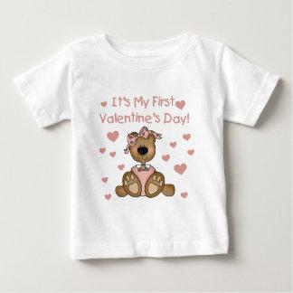 女の子くまの第1バレンタインデー ベビーTシャツ