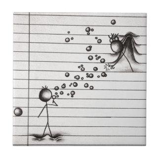 女の子に泡を吹いている棒の姿の漫画の男の子 タイル