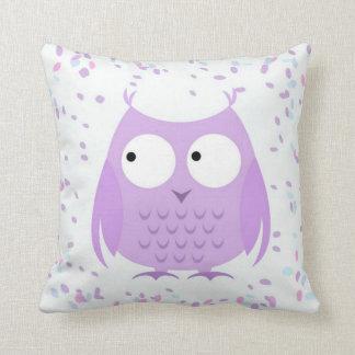 女の子のかわいい紙吹雪の紫色のフクロウの枕 クッション