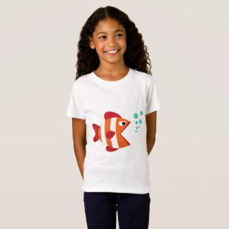 女の子のためのおもしろいでかわいい魚のTシャツ Tシャツ