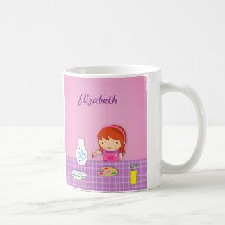 女の子のためのかわいい子供陶器の絵画の芸術 コーヒーマグカップ