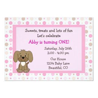 女の子のためのかわいい小犬の第1誕生日の招待状 12.7 X 17.8 インビテーションカード