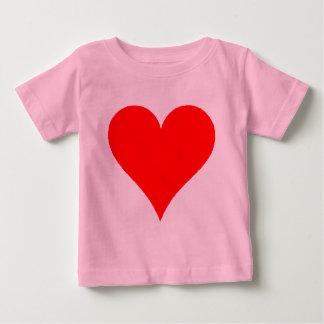 女の子のためのかわいい赤いハートのワイシャツ ベビーTシャツ