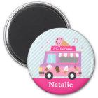 女の子のためのかわいくカラフルなアイスクリームのトラック マグネット