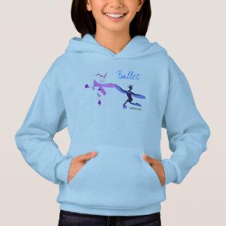 女の子のためのバレエのフード付きスウェットシャツ