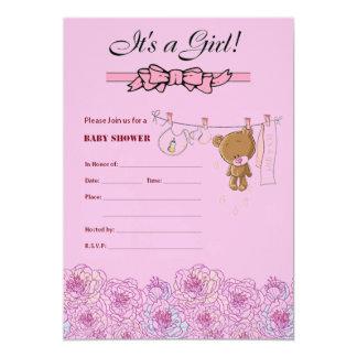女の子のためのベビーシャワーの招待 カード