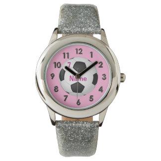 女の子のための名前入りなグリッターのサッカーの腕時計 腕時計