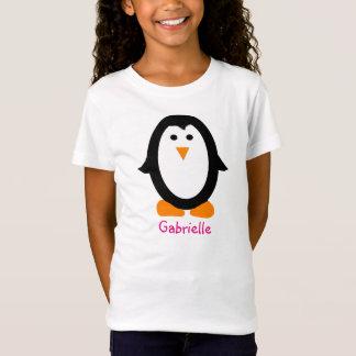 女の子のための名前入りなペンギンのワイシャツ Tシャツ
