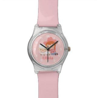 女の子のための子ヒツジを持つかわいく幸せな女性のカーボーイ 腕時計