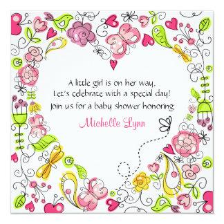 女の子のための庭のハートのベビーシャワーの招待状 カード