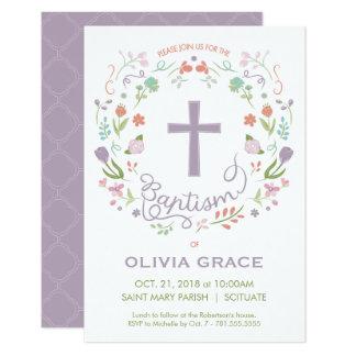 女の子のための招待に洗礼を施す洗礼-カスタマイズ カード