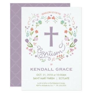 女の子のための招待状-カスタムに洗礼を施す洗礼 カード