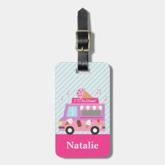 女の子のための甘い紫色のピンクのアイスクリームのトラック ラゲッジタグ