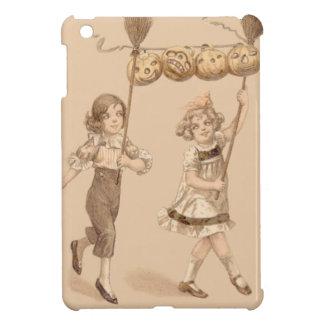 女の子のほうきのジャックOのランタンのカボチャ iPad MINIケース