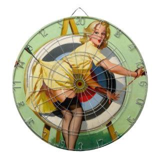 女の子のアーチェリーの中心点のヴィンテージポスターの上のPin ダーツボード