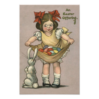 女の子のイースターのウサギの着色された色彩の鮮やかな卵 フォトプリント