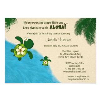 女の子のウミガメのベビーシャワーの招待YEL (Honu) 03A2 カード