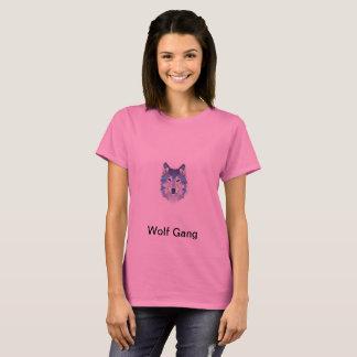 女の子のオオカミの青 Tシャツ