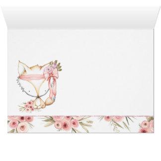 女の子のキツネのベビーシャワーのサンキューカード カード