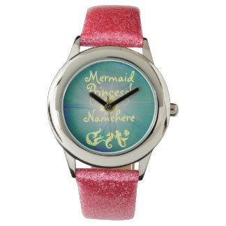 女の子のグリッターの人魚のプリンセス! 彼女の名前を加えて下さい! 腕時計