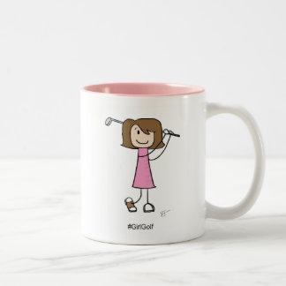 女の子のゴルファー、ブルネット- 11のozのツートーンマグ ツートーンマグカップ