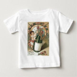 女の子のシャンペンのボトルのばら色の時計 ベビーTシャツ
