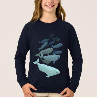 女の子のシロイルカのクジラのスエットシャツのベビーのシロイルカのワイシャツ スウェットシャツ