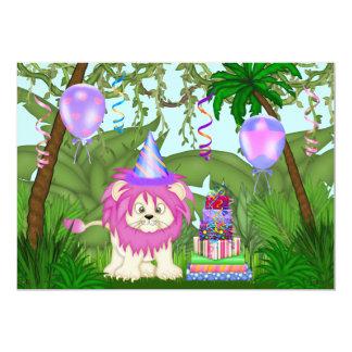 女の子のジャングルのライオンの誕生日のパーティの招待状 カード