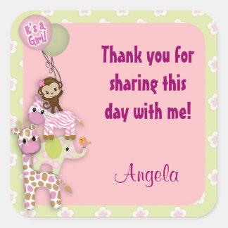 女の子のジャングルサファリの動物のベビーの正方形のステッカーのピンク スクエアシール