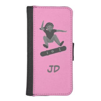 女の子のスケートボーダーはイニシャルのiphoneの札入れを加えます iPhoneSE/5/5sウォレットケース