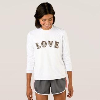 女の子のスポーツTekの競争相手の長袖のTシャツの Tシャツ