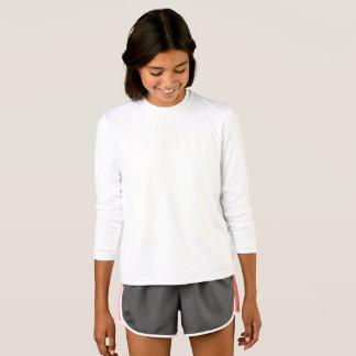女の子のスポーツTekの競争相手の長袖のTシャツ Tシャツ