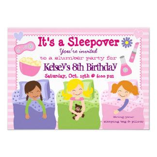 女の子のスランバー・パーティーのSleepoverのパジャマの招待状 カード
