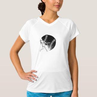 女の子のソフトボールのねり粉の女性のV首のTシャツ Tシャツ