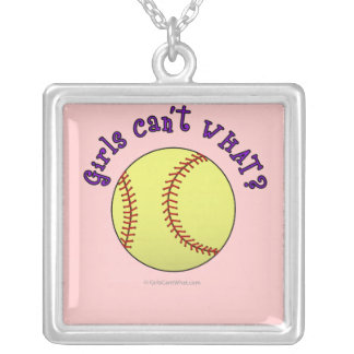 女の子のソフトボール紫色の文字 シルバープレートネックレス
