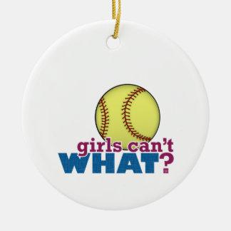 女の子のソフトボール セラミックオーナメント