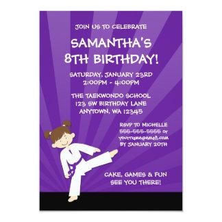 女の子のテコンドーの空手紫色ベルトの誕生日 カード